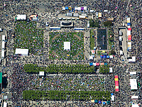 aerial photograph crowds at Civic Center San Francisco, California