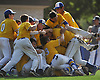 Kellenberg varsity baseball teammates celebrate after their 5-4 win over St. Anthony's in Game 2 of the CHSAA finals at Hofstra University on Sunday, May 31, 2016. The Firebirds swept the best-of-three series to tale the league championship.