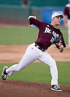 Jonathan Harris (18) of the Missouri State Bears delivers a pitch during a game against the Northwestern Wildcats at Hammons Field on March 9, 2013 in Springfield, Missouri. (David Welker/Four Seam Images)