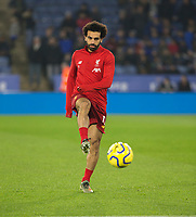26th December 2019; King Power Stadium, Leicester, Midlands, England; English Premier League Football, Leicester City versus Liverpool; Mohamed Salah of Liverpool passing the ball during the match warm up - Strictly Editorial Use Only. No use with unauthorized audio, video, data, fixture lists, club/league logos or 'live' services. Online in-match use limited to 120 images, no video emulation. No use in betting, games or single club/league/player publications