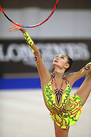 September 21, 2007; Patras, Greece;  Aliya Yussupova of Kazakhstan balances  with hoop during All-Around final at 2007 World Championships Patras.  Aliya placed 6th in the AA and helped Kazakhstan to receive one position for the individual All-Around competition at Beijing 2008 Olympics and the possibility of making her second Olympic Games.  Photo by Tom Theobald. .