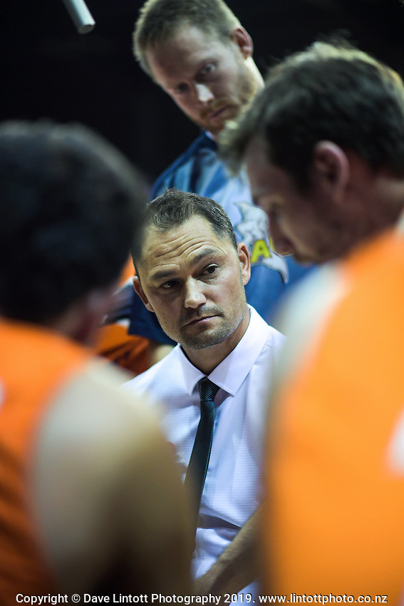Sharks coach Judd Flavell during the national basketball league match between Cigna Wellington Saints and Southland Sharks at TSB Bank Arena in Wellington, New Zealand on Thursday, 25 April 2019. Photo: Dave Lintott / lintottphoto.co.nz