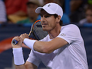Washington, DC - August 5, 2015: Number 1 seed Andy Murray makes a backhand shot in a match against Teymuraz Gabashvii of Russia during the Citi Open tennis tournament at the FitzGerald Tennis Center in the District of Columbia August 5, 2015.  (Photo by Don Baxter/Media Images International)
