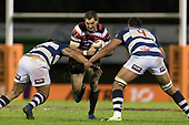 Stephen Donald tries to bust between Marcel Renata and Patrick Tuipulotu. Mitre 10 Cup rugby game between Counties Manukau Steelers and Auckland played at ECOLight Stadium, Pukekohe on Saturday August 19th 2017. Counties Manukau Stelers won the game 16 - 14 and retain the Dan Bryant Memorial trophy.<br /> Photo by Richard Spranger.