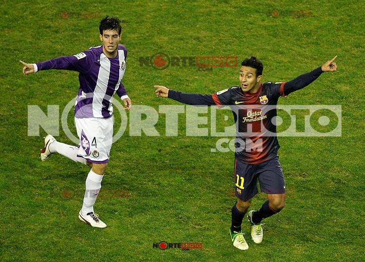 Real Valladolid's Marc Valiente (l) and FC Barcelona's Thiago Alcantara during La Liga match.December 22,2012. (ALTERPHOTOS/Acero) /NortePhoto