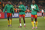 19 JUN 2010: Geremi (CMR) (8), Samuel Etoo (CMR) (9), and Achille Emana (CMR) (10). The Cameroon National Team lost 1-2 to the Denmark National Team at Loftus Versfeld Stadium in Tshwane/Pretoria, South Africa in a 2010 FIFA World Cup Group E match.