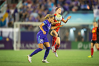 Orlando, Florida - Sunday, May 14, 2016: Orlando Pride defender Monica Hickman Alves (21) wins a header from Western New York Flash midfielder Michaela Hahn (2) during a National Women's Soccer League match between Orlando Pride and New York Flash at Camping World Stadium.