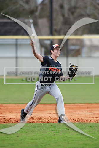 Joe Breslin (11) of Encinitas, California during the Baseball Factory All-America Pre-Season Rookie Tournament, powered by Under Armour, on January 13, 2018 at Lake Myrtle Sports Complex in Auburndale, Florida.  (Michael Johnson/Four Seam Images)