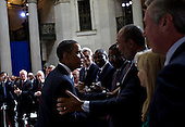 New York, NY - September 14, 2009 -- United States President Barack Obama, left, greets Richard Parsons, chairman of the board of Citigroup Inc., following a speech at Federal Hall National Memorial in New York, U.S., on Monday, September 14, 2009. Obama, speaking a year after Lehman Brothers Inc. collapse, outlined his plan for unwinding government involvement in the financial sector. .Credit: Daniel Acker / Pool via CNP