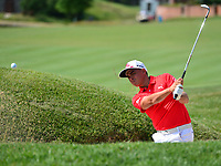 Potomac, MD - June 29, 2017: Rickie Fowler plays a shot from the bunker at hole 14 during Round 1 of professional play at the Quicken Loans National Tournament at TPC Potomac at Avenel Farm in Potomac, MD, June 29, 2017.  (Photo by Don Baxter/Media Images International)