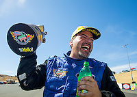 Aug 2, 2015; Sonoma, CA, USA; NHRA pro stock driver Chris McGaha celebrates after winning the Sonoma Nationals at Sonoma Raceway. Mandatory Credit: Mark J. Rebilas-
