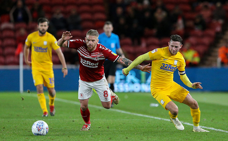 Preston North End's Alan Browne battles with Middlesbrough's Adam Clayton<br /> <br /> Photographer Alex Dodd/CameraSport<br /> <br /> The EFL Sky Bet Championship - Middlesbrough v Preston North End - Tuesday 1st October 2019  - Riverside Stadium - Middlesbrough<br /> <br /> World Copyright © 2019 CameraSport. All rights reserved. 43 Linden Ave. Countesthorpe. Leicester. England. LE8 5PG - Tel: +44 (0) 116 277 4147 - admin@camerasport.com - www.camerasport.com