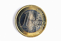 One euro coin, white background