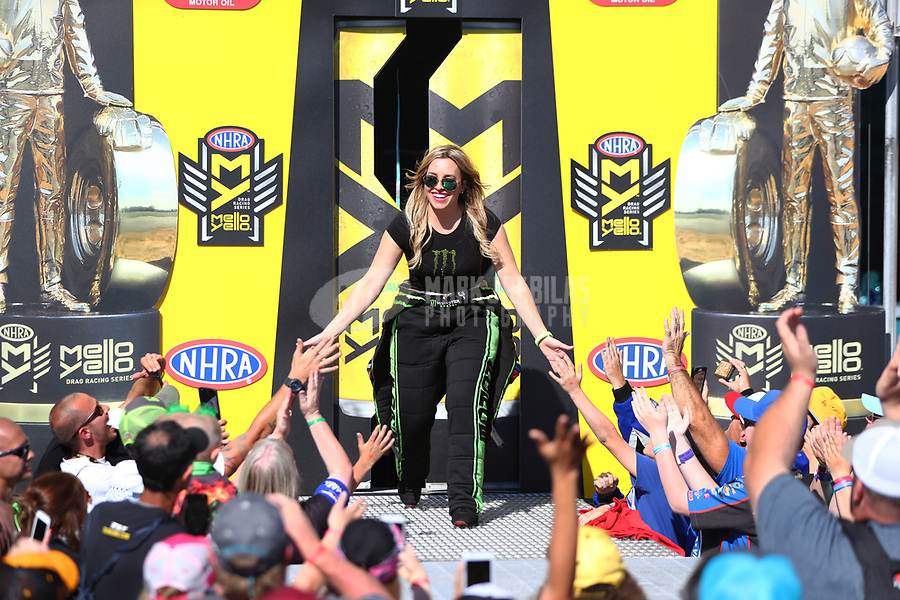 Mar 19, 2017; Gainesville , FL, USA; NHRA top fuel driver Brittany Force during the Gatornationals at Gainesville Raceway. Mandatory Credit: Mark J. Rebilas-USA TODAY Sports