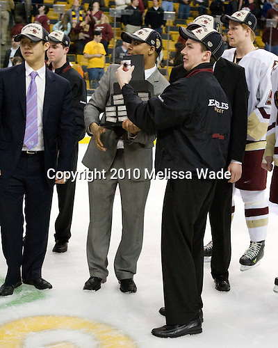Samson Lee, Chris Malloy (BC - Student Manager), Malcolm Lyles (BC - 23), ?, Philip Samuelsson (BC - 5) - The Boston College Eagles defeated the University of Maine Black Bears 7-6 in overtime to win the Hockey East championship on Saturday, March 20, 2010, at TD Garden in Boston, Massachusetts.