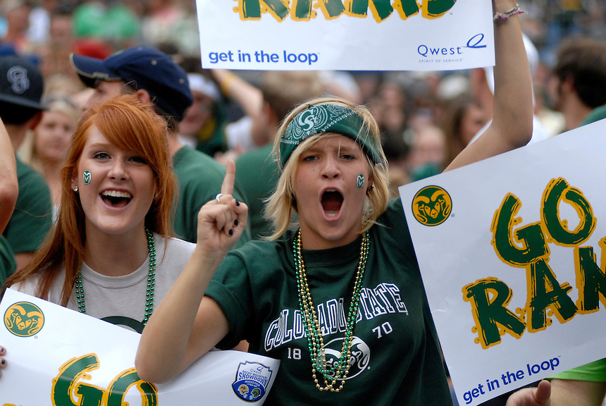 31 Aug 2008: Colorado State fans display their pride prior to a game against Colorado. The Colorado Buffaloes defeated the Colorado State Rams 38-17 at Invesco Field at Mile High in Denver, Colorado. FOR EDITORIAL USE ONLY