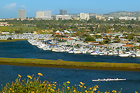 Boats in Newport Harbor with Fashion Island in the Distance Newport Beach, California