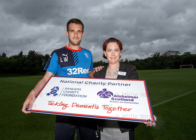 Lee Wallace and Rachael Smith of Alzheimer's Scotland in partnership with the Rangers Charity Foundation