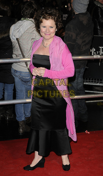 "IMELDA STAUNTON.""Harry Potter And The Deathly Hallows: Part 1"" World Film Premiere, Empire cinema Leicester Square and Odeon Leicester Square, London, England, UK, 11th November 2010. .full length black long maxi dress pink cardigan shoes.CAP/CAN.©Can Nguyen/Capital Pictures."