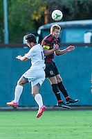 STANFORD, CA - August 19, 2014: Stanford vs CSU Bakersfield in an exhibition men's soccer match in Stanford, California.  Stanford won 1-0.