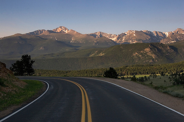 Sunrise road leading to Longs Peak.<br /> John offers private photo tours of Rocky Mountain National Park. Anytime, All-year.