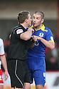 Ben Chorley of Leyton Orient confronts referee Darren Sheldrake after being sent off.- Stevenage v Leyton Orient- npower League 1 - Lamex Stadium, Stevenage - 2nd January 2012  .© Kevin Coleman 2012