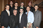 back row: Todd Fournier, Brian Brigham, Jeremy Kushnier, Brandon Brigham front row: Matt Bogart, Frankie Valli, Jarrod Spector, Landon Fournier and Drew Gehling attending the reception for Frankie Valli and the Four Seasons  50th Anniversary Celebration & Broadway debut in 'The One. The Only. The Original.' at the Broadway Theatre on 10/19/2012 in New York City.