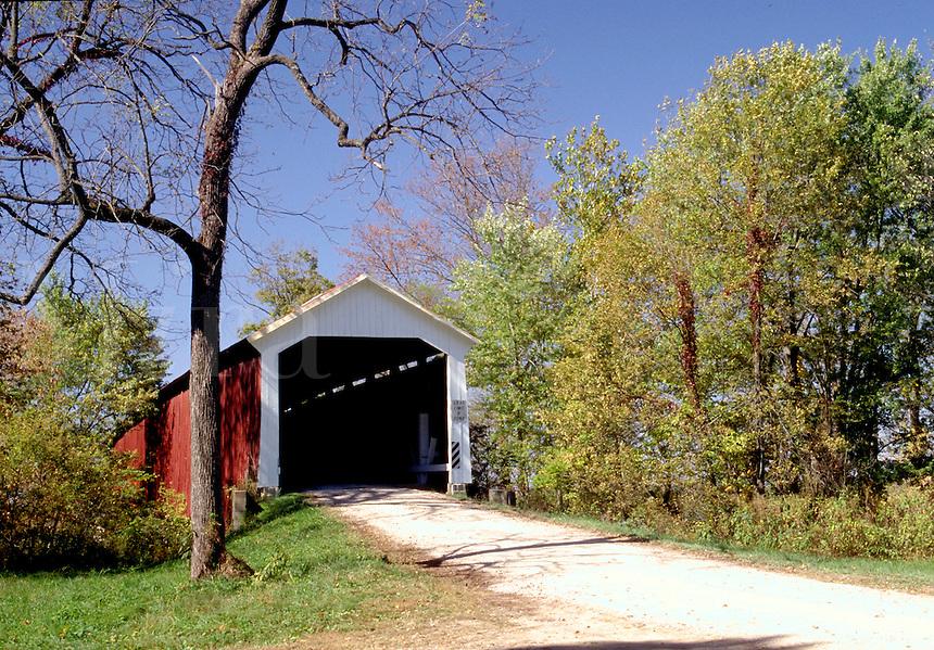 McAllister's Covered Bridge, built in 1914, over Little Raccoon Creek, Parke County, near Catlin, Indiana. Catlin Indiana, Parke County.
