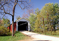 McAllister's Covered Bridge, built in 1914, over Little Raccoon Creek, Parke County, near Catlin, Indiana. Catlin Indiana, Parke County.