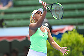 11th January 2018,  Kooyong Lawn Tennis Club, Kooyong, Melbourne, Australia; Priceline Pharmacy Kooyong Classic tennis tournament; Destanee Aiava of Australia throws her racquet in the air in anger during her match against Eugenie Bouchard of Canada