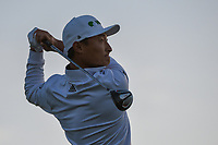 HaoTong Li (CHN) watches his tee shot on 11 during day 2 of the Valero Texas Open, at the TPC San Antonio Oaks Course, San Antonio, Texas, USA. 4/5/2019.<br /> Picture: Golffile | Ken Murray<br /> <br /> <br /> All photo usage must carry mandatory copyright credit (&copy; Golffile | Ken Murray)