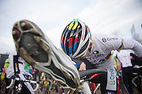 Sven Nys (BEL) doing a world champ stretch before the start<br /> <br /> Leuven Soudal Classic 2014