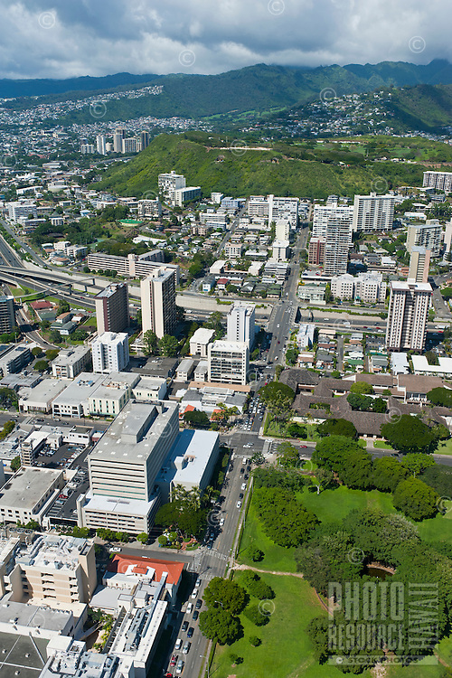 Aerial of  Punchbowl from Thomas Sq
