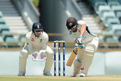 November 5th 2017, WACA Ground, Perth Australia; International cricket tour, Western Australia versus England, day 2; Will Bosisto plays a forward defensive stroke against Mason Crane during his innings