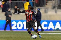 Maryland Terrapins midfielder Schillo Tshuma (23). The Notre Dame Fighting Irish defeated the Maryland Terrapins 2-1 during the championship match of the division 1 2013 NCAA  Men's Soccer College Cup at PPL Park in Chester, PA, on December 15, 2013.
