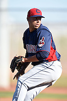 Cleveland Indians pitcher Antonio Romero (28) during an Instructional League game against the Seattle Mariners on October 1, 2014 at Goodyear Training Complex in Goodyear, Arizona.  (Mike Janes/Four Seam Images)