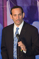 MLS Commissioner Don Garber speaks at the National Soccer Hall of Fame induction ceremony. Wright Soccer Campus, Oneonta, NY, on August  29, 2005.