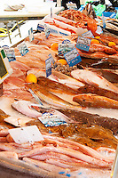 Street market merchant's stall with many different type of fish, fish on ice Sanary Var Cote d'Azur France