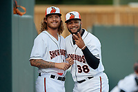 Delmarva Shorebirds pitchers Nick Vespi (26) and Juan Echevarria (38) before a South Atlantic League game against the Greensboro Grasshoppers on August 21, 2019 at Arthur W. Perdue Stadium in Salisbury, Maryland.  Delmarva defeated Greensboro 1-0.  (Mike Janes/Four Seam Images)