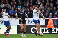Matt Banahan of Bath Rugby celebrates his bonus point try. Aviva Premiership match, between Exeter Chiefs and Bath Rugby on December 2, 2017 at Sandy Park in Exeter, England. Photo by: Patrick Khachfe / Onside Images