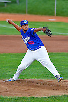 Ogden Raptors starting pitcher Willian Soto (50) delivers a pitch to the plate against the Great Falls Voyagers in Pioneer League action at Lindquist Field on August 17, 2016 in Ogden, Utah. Ogden defeated Great Falls 5-2. (Stephen Smith/Four Seam Images)
