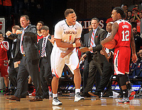 Virginia guard Justin Anderson (1) gives a strong reaction after a key play in the second half against North Carolina State Wednesday Jan. 7, 2015 in Charlottesville, Va. Virginia won 61-51.