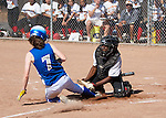Willow Glen HS vs. Los Altos HS at LAHS, first round CCS playoffs, May 16, 2012.  Los Altos wins 5-0..Kaitlyn Schiffhauer slides into home plate, knocking the ball loose and scoring a run for her team.