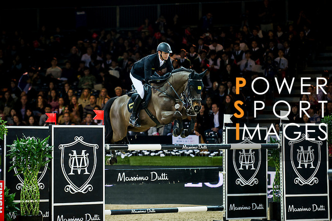 Marco Kutscher of Germany riding Cornet's Cristallo in action during the Hong Kong Jockey Club Trophy competition as part of the Longines Hong Kong Masters on 13 February 2015, at the Asia World Expo, outskirts Hong Kong, China. Photo by Victor Fraile / Power Sport Images