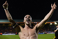 Blackpool's Tom Aldred celebrates after the match<br /> <br /> Photographer Craig Mercer/CameraSport<br /> <br /> The EFL Sky Bet League Two Play-Off Semi Final Second Leg - Luton Town v Blackpool - Thursday 18th May 2017 - Kenilworth Road - Luton<br /> <br /> World Copyright &copy; 2017 CameraSport. All rights reserved. 43 Linden Ave. Countesthorpe. Leicester. England. LE8 5PG - Tel: +44 (0) 116 277 4147 - admin@camerasport.com - www.camerasport.com