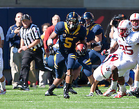 October 20th, 2012: California's Brendan Biegelow runs down the field during punt return during a game against Stanford at Memorial Stadium at Berkeley, Ca   Stanford defeated California 21 - 3
