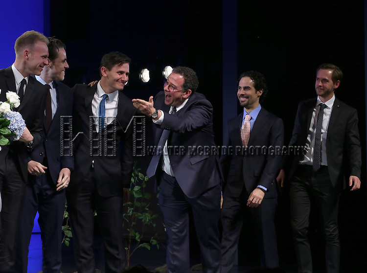 The creative team: Justin Paul, Steven Levenson, Benj Pasek, Michael Greif, Alex Lacamoire and Danny Melford during the Broadway Opening Night Performance Curtain Call for 'Dear Evan Hansen'  at The Music Box Theatre on December 3, 2016 in New York City.