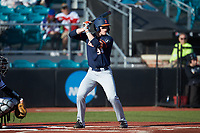 Alex Steinbach (34) of the Illinois Fighting Illini at bat against the Coastal Carolina Chanticleers at Springs Brooks Stadium on February 22, 2020 in Conway, South Carolina. The Fighting Illini defeated the Chanticleers 5-2. (Brian Westerholt/Four Seam Images)