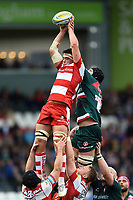 Lewis Ludlow of Gloucester Rugby wins the ball at a lineout. Aviva Premiership match, between Leicester Tigers and Gloucester Rugby on September 16, 2017 at Welford Road in Leicester, England. Photo by: Patrick Khachfe / JMP