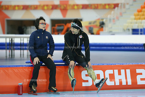 (L to R) <br />  Seiko Hashimoto, <br /> Yuya Oikawa (JPN), <br /> FEBRUARY 2, 2014 - Speed Skating : <br /> Official Training <br /> at &quot;ADLER ARENA&quot; Speed Skating Center <br /> during the Sochi 2014 Olympic Winter Games in Sochi, Russia. <br /> (Photo by YUTAKA/AFLO SPORT) [1040]